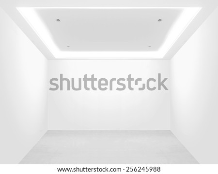 Bright empty room and blank wall - stock photo