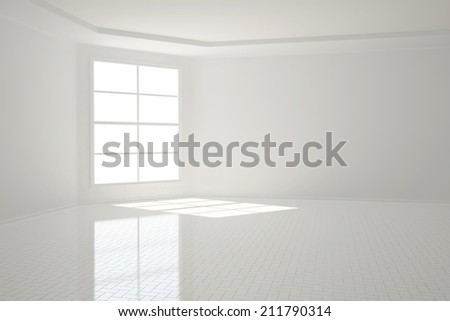 Bright empty white apartment room with tiles - stock photo