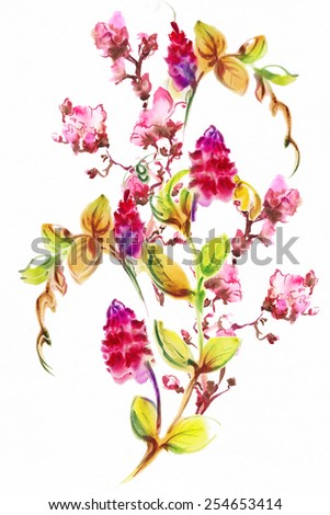 Bright exotic bouquet from flowers , drawn with watercolor paints.Album (new bouquets by a holiday from water color flowers) - stock photo