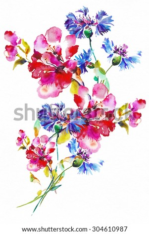 Colorful flowers stock images royalty free images for Bright flower painting