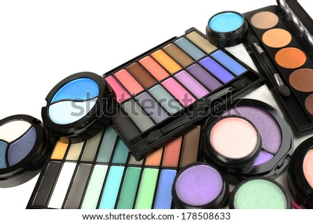 Bright eye shadows close up