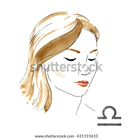 bright fashion illustration, girl with red lips,zodiac sign, watercolor illustration of woman,Libra - stock photo