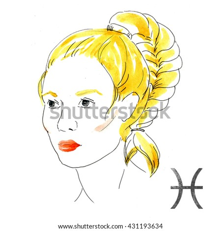 bright fashion illustration, girl with red lips,zodiac sign, watercolor illustration of woman,Pisces - stock photo