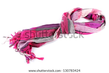 Bright female scarf isolated on white