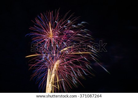 Bright fireworks display. - stock photo