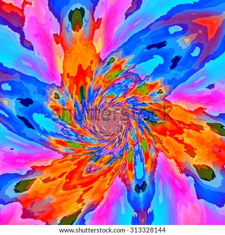 Bright flaky fractal paint background. Old image style. Full frame. Cool ideas. Mixed loop. Blue lilac tone liquid. Flaking cyan blue orange dye. Modern wrap decor. Magic round swirl. Unique curl. - stock photo