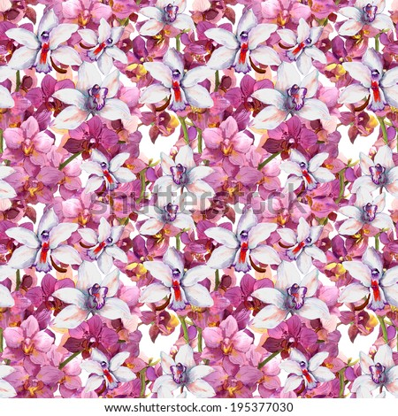 Bright floral pattern - colorful orchid flowers. Seamless template. Aquarelle background. - stock photo