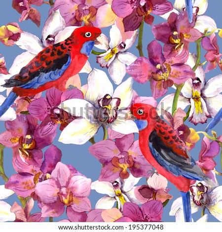 Bright floral pattern - parrot bird, orchid flowers. Fashion seamless background. Aquarelle. - stock photo