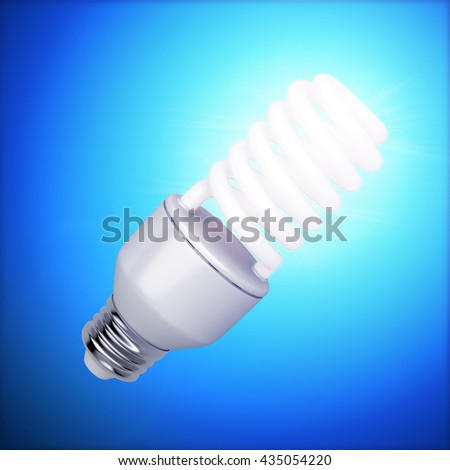 Bright fluorescent light bulb on dark blue background, 3D illustration - stock photo