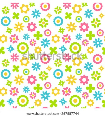Bright fun abstract seamless pattern with flowers isolated on white background - stock photo
