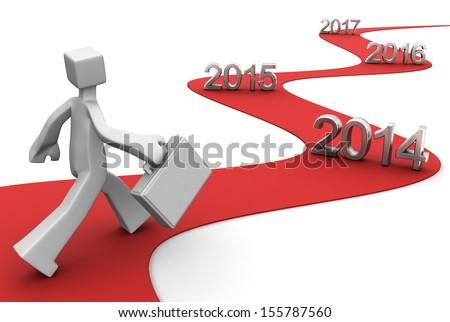Bright future success concept 2014 3d illustration - stock photo