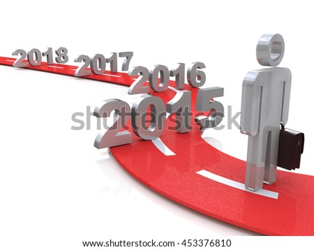 Bright future success concept 3d illustration 2015 in the design of information related to the future. 3d illustration - stock photo