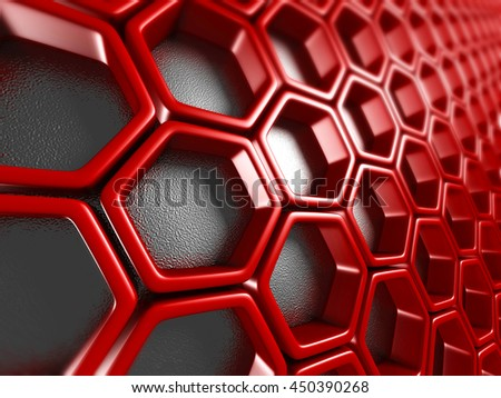 Bright Futuristic Red Hexagon Pattern Background. 3d Render Illustration - stock photo