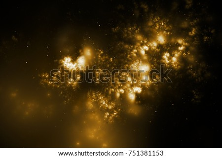 Bright galaxy. Abstract golden sparkles on black background. Fantasy fractal texture. Digital art. 3D rendering.
