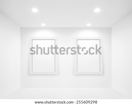 Bright gallery and blank canvas - stock photo