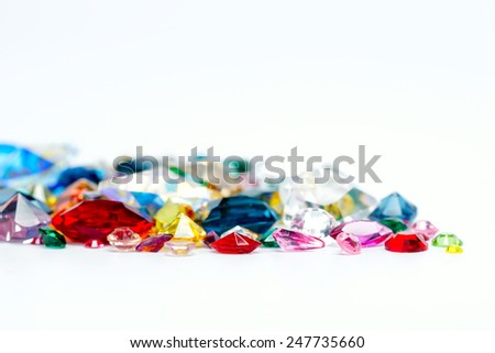 bright gems isolated on white background - stock photo