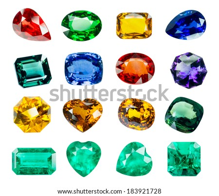 Bright gems on a white background - stock photo
