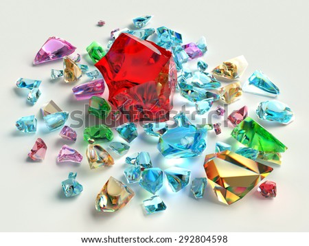 Bright gems on a white background. Colored stones. - stock photo