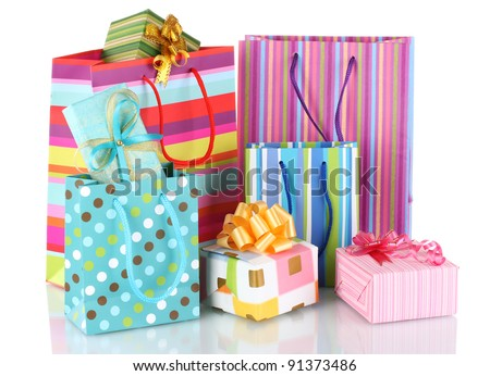 Gift packet stock images royalty free images vectors shutterstock bright gift bags and gifts isolated on white negle Choice Image