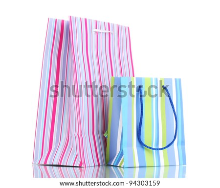 bright gift bags isolated on  white - stock photo