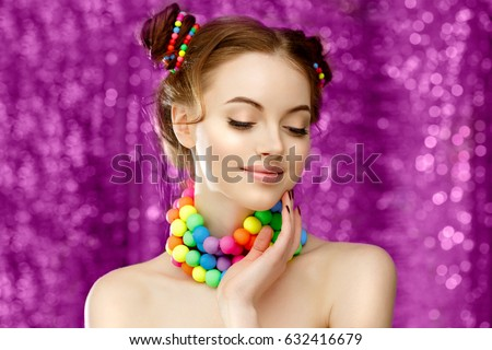 Bright girl model holding hands on stock photo 632416679 shutterstock bright girl model holding hands on her face beautiful stylish young woman in voltagebd Gallery