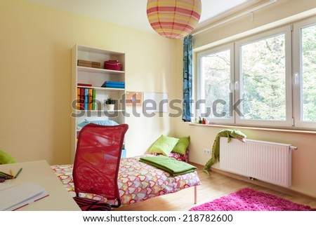 Bright girl room with white furniture from the inside - stock photo