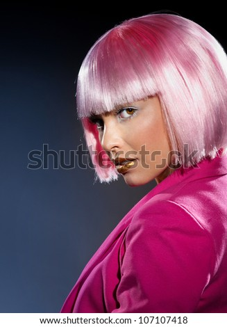 Bright girl with mysterious gaze - stock photo