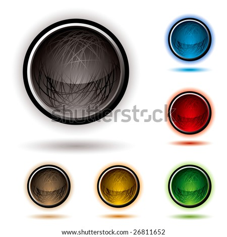 bright glowing buttons with scribbles and drop shadow - stock photo