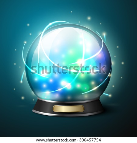 Bright glowing crystal ball for fortune tellers. - stock photo