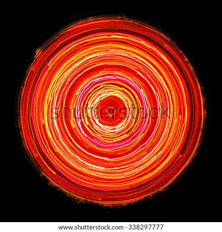 Bright Glowing Electric Circle on Black Background