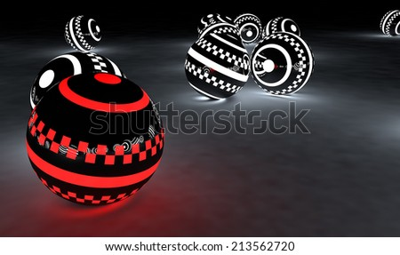 Bright glowing spheres in a random display. Leadership/Be different concept 3D illustration. - stock photo