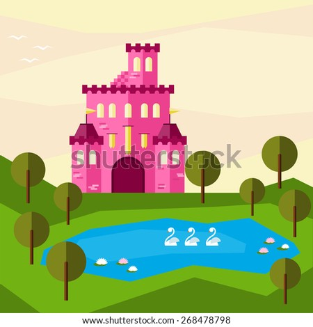 Bright graphic illustration with cartoon pink colored castle for use in design for card, invitation, banner, poster or placard background. Raster copy. - stock photo
