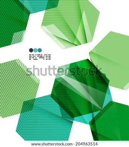Bright green and blue textured geometric shapes isolated on white - modern design template - stock photo