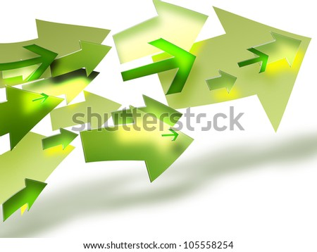 bright green arrows on a light background