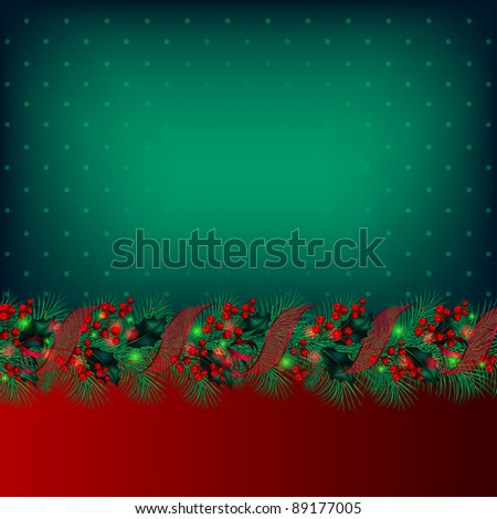Bright green Christmas background decorated by garland from fir-tree branches - stock photo