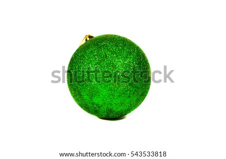 Bright green Christmas ball isolated on a white background