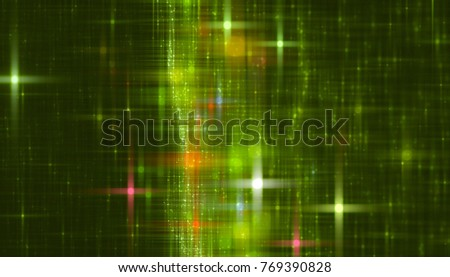 Bright green illustration with abstract shiny background with stars.