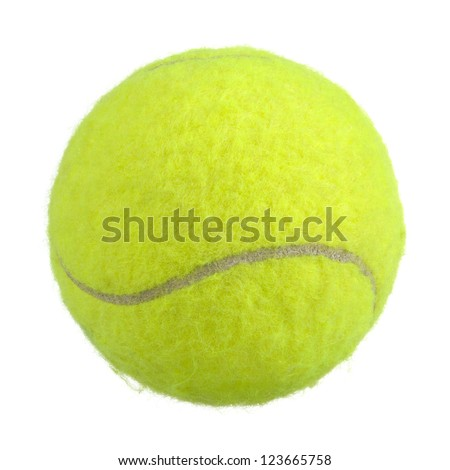 Bright Green Lawn Tennis Ball Isolated on White Background - stock photo