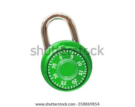 Bright Green Metal Padlock isolated on white background
