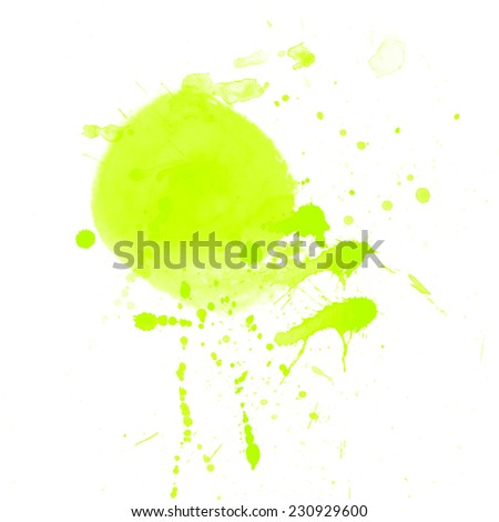 Bright green raster watercolor splash with drops and stains.