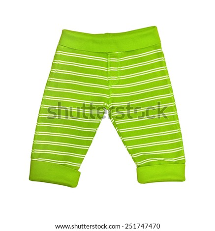 Bright green striped baby trousers isolated on white  - stock photo
