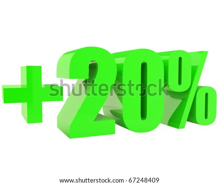 bright green three-dimensional +20% text isolated on white background - stock photo