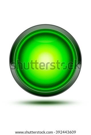 Bright Green Traffic Light Symbol Glowing Stock Illustration