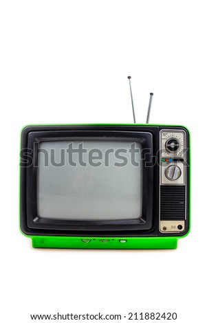 Bright green vintage style old television isolated on white - stock photo