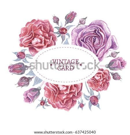 Bright Hand Drawn Watercolor Oval Frame In Wreath Shape With Roses Isolated On White Background