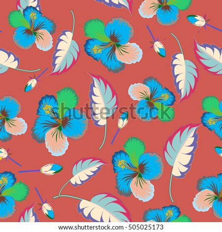 Bright hawaiian seamless pattern with tropical hibiscus flowers on brown background.