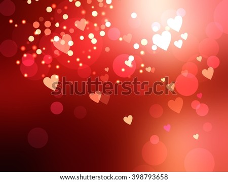 Bright hearts and the sparkle on a deep red blur texture. Valentines day festive background. - stock photo