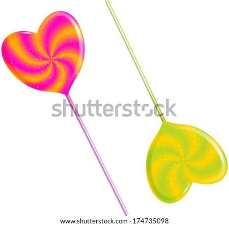 Bright Hearts.  Heart shaped lollypops. - stock photo
