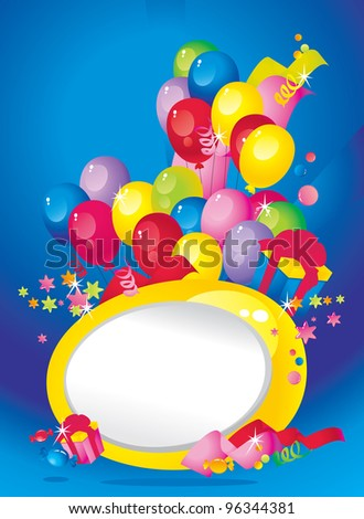 Bright Holiday composition of balloons, gift boxes, confetti, sweets, Streamer and  Frame for your text congratulations - stock photo