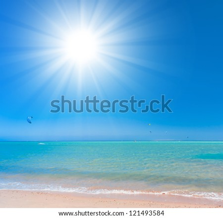 Bright Holiday Paradise Wallpaper - stock photo